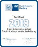 Zertifikat 2018 der Handelskammer Hamburg Dieses Unternehmen sichert Qualität durch duale Ausbildung