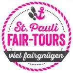 logo St. Pauli Fair-Tours der BID Reeperbahn und der IG St. Pauli für Stadtführungen, Stadtrundgänge, Kieztouren und Reeperbahntouren, Text viel fairgnügen